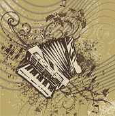 Grunge music instrument background with an accordion.