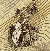 Music instrument background with a an electric guitar.