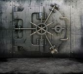 Grunge style image of a room interior with a bank vault