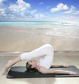 picture of saxy  - black mat yoga woman window view of tropical beach caribbean sea - JPG