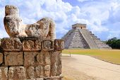 Ancient Chac Mool Chichen Itza human stone figure Mexico Yucatan