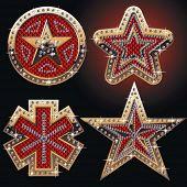 Diamond and gold symbols, stars
