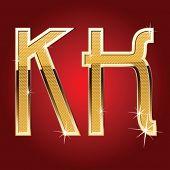 Golden font Letter K