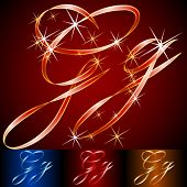Ribbon styled vector gala alphabet. Applicable for dark and light background. Letter g
