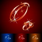 Ribbon styled vector gala alphabet. Applicable for dark and light background. Letter o
