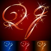 Ribbon styled vector gala alphabet. Applicable for dark and light background. Letter q