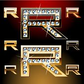 Vector illustration of boldest golden letters with shining diamonds. Character r