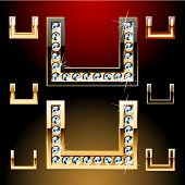 Vector illustration of boldest golden letters with shining diamonds. Character u