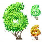 Vektor-Illustration eine zusätzliche detaillierte Baum Alphabet Symbole. Leicht abnehmbare Krone. Zeichen 6
