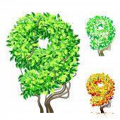 Vektor-Illustration eine zusätzliche detaillierte Baum Alphabet Symbole. Leicht abnehmbare Krone. Zeichen 9