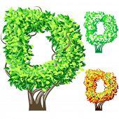 Vektor-Illustration eine zusätzliche detaillierte Baum Alphabet Symbole. Leicht abnehmbare Krone. Zeichen d