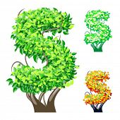 Vector illustration of an extra detailed tree alphabet symbols. Easy detachable crown. character s