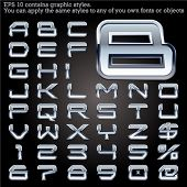 stock photo of iron star  - Chrome bordered typeface - JPG
