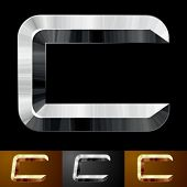 Metal chopped letters. Character c