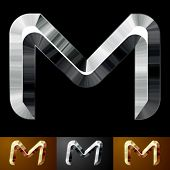 Metal chopped letters. Character m