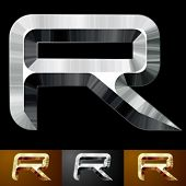 Metal chopped letters. Character r