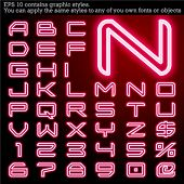Neon transparent characters. Sensitive to the background. File contains graphic styles. You can appl