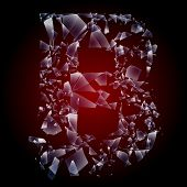 Alphabetic characters of broken glass. Sensitive to the background. Character b