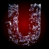 Alphabetic characters of broken glass. Sensitive to the background. Character  u