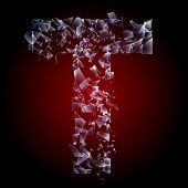 Alphabetic characters of broken glass. Sensitive to the background. Character  t