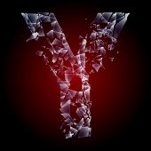 Alphabetic characters of broken glass. Sensitive to the background. Character  y