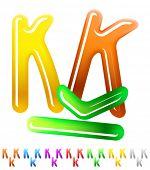 Multicolor children's candy alphabet. Character k