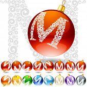 Versatile set of alphabet symbols on Christmas balls. Letter m