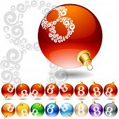 Versatile set of alphabet symbols on Christmas balls. Letter 8