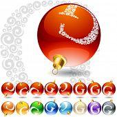 Versatile set of alphabet symbols on Christmas balls. Letter g