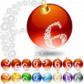Versatile set of alphabet symbols on Christmas balls. Letter 6