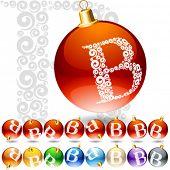 Versatile set of alphabet symbols on Christmas balls. Letter b