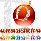 Versatile set of alphabet symbols on Christmas balls. Letter d
