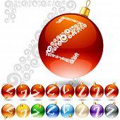 Versatile set of alphabet symbols on Christmas balls. Letter z
