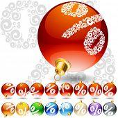 Versatile set of alphabet symbols on Christmas balls. Percent symbol
