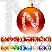Versatile set of alphabet symbols on Christmas balls. Letter n