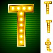Letters for signs with lamps. Letter t