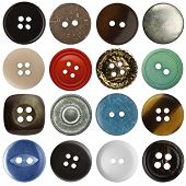 Various sewing buttons set on white background
