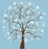 image of winter trees  - Snowflake tree four snowflake designs layered for easy editing  - JPG