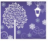 tree with lantern and snowflakes vector