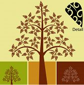 Tree with coil leaf choices vector