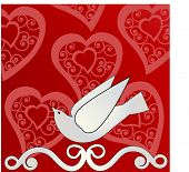 dove of peace with ornate hearts behind (use together or separately)