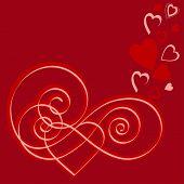 valentine calligraphy hearts