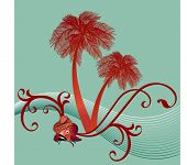 koi fish with funky waves and palm trees