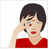 woman with hand over eye