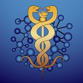 molecule  with medical caduceus