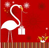 flamingo with bird and present flower snowflakes behind