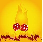 burning flame with dice