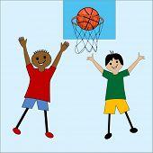 cartoon kids playing basketball