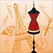 mannequin with musical instruments and Eiffel Tower