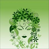 environmental woman with foliage (blank behind facial features)